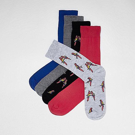 Blue parrot print socks pack