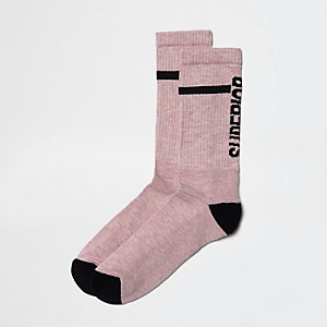 Pink text tube socks