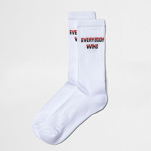 White everybody wins tube socks