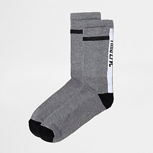 Grey vibes print tube sock