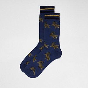 Navy crocodile print socks