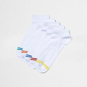 White multicoloured stripe trainer socks pack