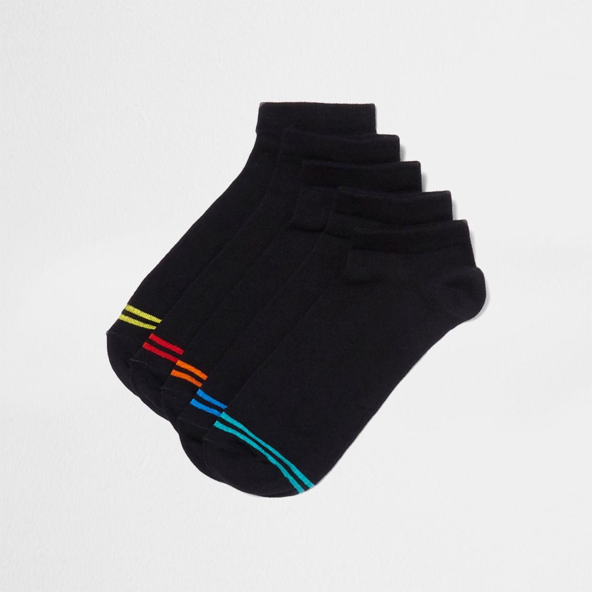 Lot de chaussettes de sport noires à rayures multicolores