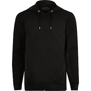 Black textured zip up hoodie