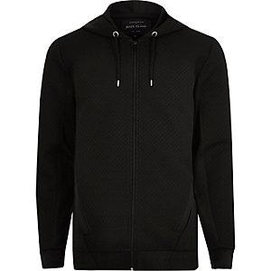 Sweat noir texturé zippé à capuche