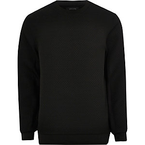 Schwarzes, strukturiertes Sweatshirt mit Rundhalsausschnitt