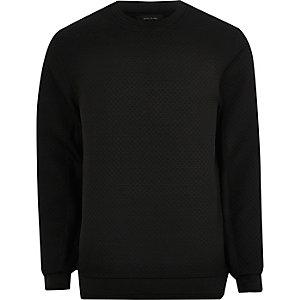 Zwart sweatshirt met ronde hals en textuur