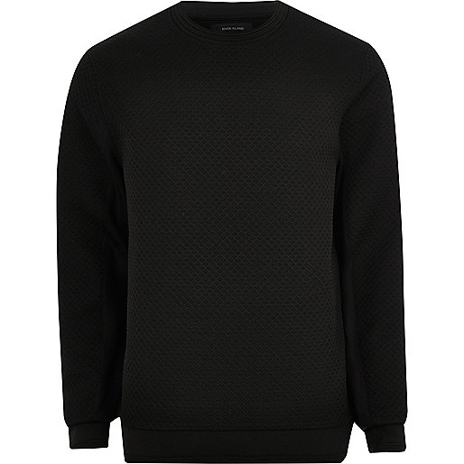 Black textured crew neck sweatshirt