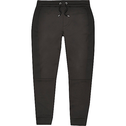 Black textured panel joggers