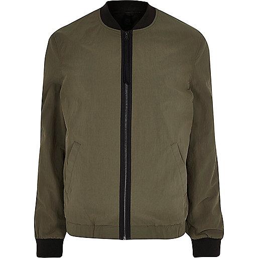 Khaki green bomber jacket