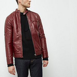 Red faux leather racer jacket
