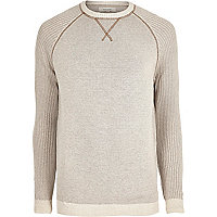 Stone knit raglan sleeve sweater