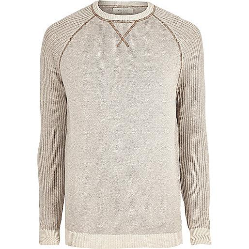 Stone knit raglan sleeve jumper