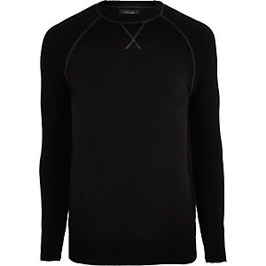 Black knit raglan sleeve jumper