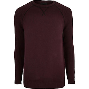 Burgundy knit raglan sleeve sweater