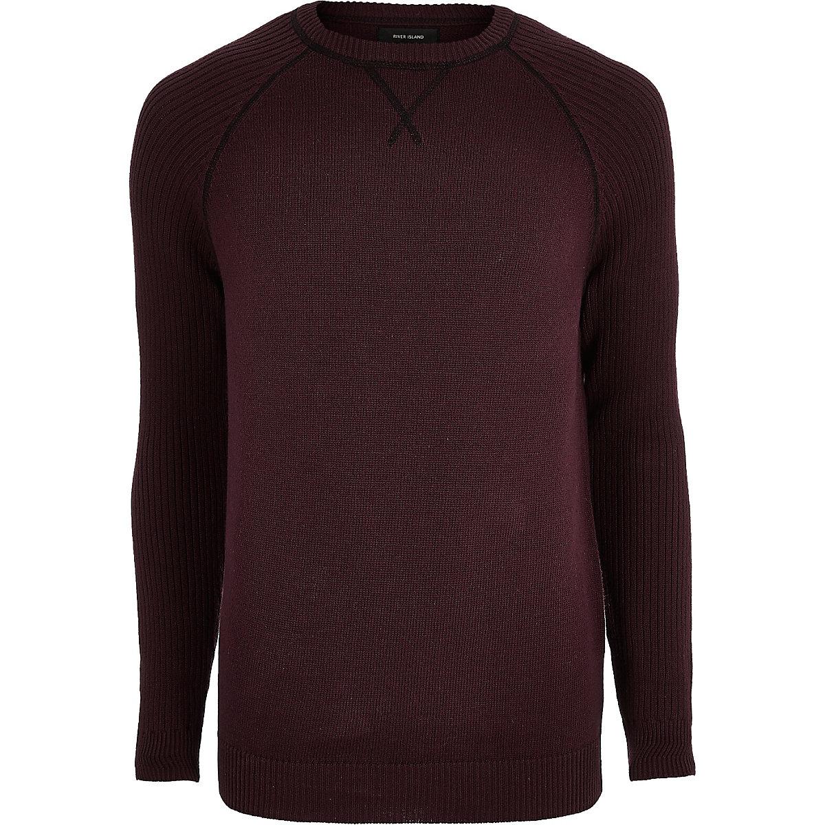 Burgundy knit raglan sleeve sweater