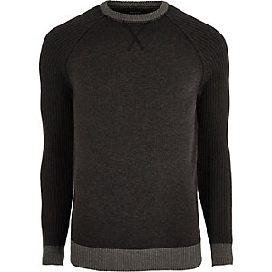 Dark grey knit raglan sleeve sweater