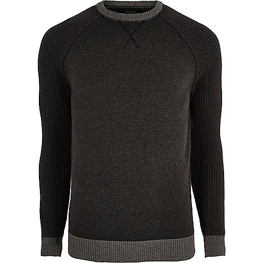 Dark grey knit raglan sleeve sweater