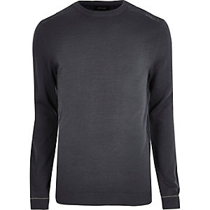 Dark grey slim fit mesh panel sweater