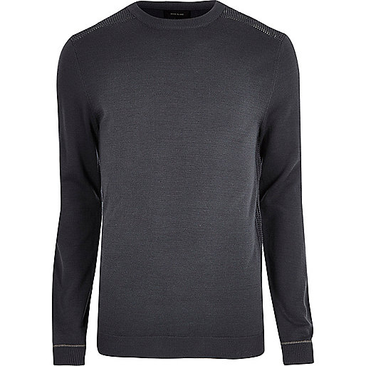 Dark grey slim fit mesh panel jumper