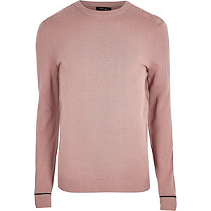 Light pink knit slim fit mesh panel jumper