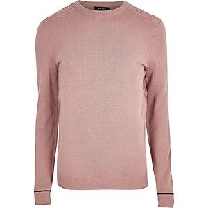 Pull slim en maille rose clair à empiècement en tulle