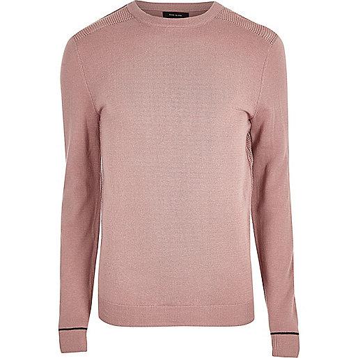 Light pink knit slim fit mesh panel jumper