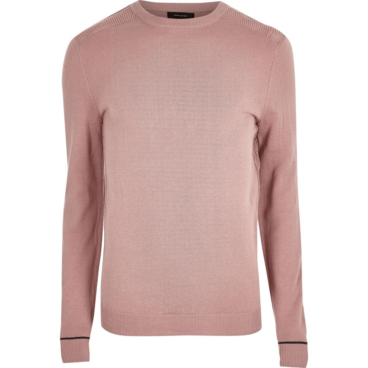 Light pink knit slim fit mesh panel sweater