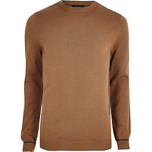 Brown knit slim fit mesh panel sweater