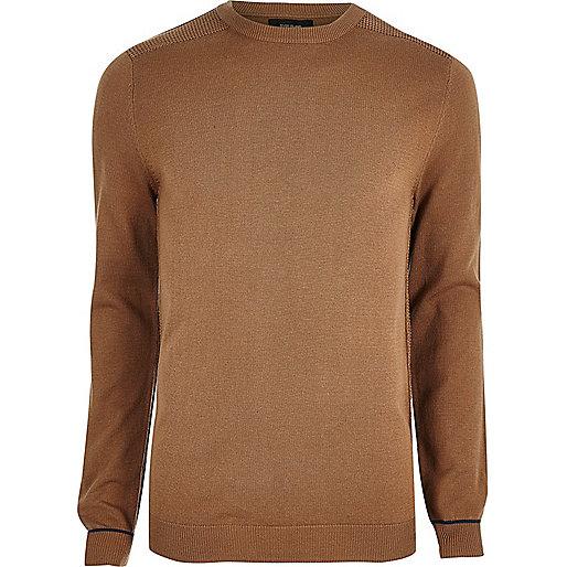 Brown knit slim fit mesh panel jumper