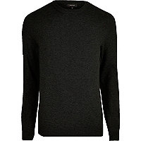 Black knit slim fit mesh panel sweater