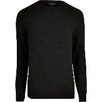 Black knit slim fit mesh panel sweater
