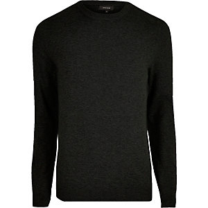 Black knit mesh panel jumper