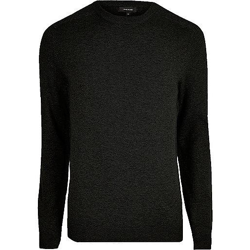 Black knit slim fit mesh panel jumper