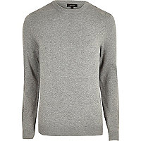 Grey knit slim fit mesh panel sweater