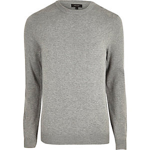 Grey knit slim fit mesh panel jumper