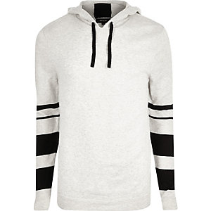 Grey contrast stripe sleeve hoodie