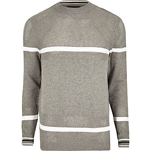 Grey knit mesh panel stripe sweater