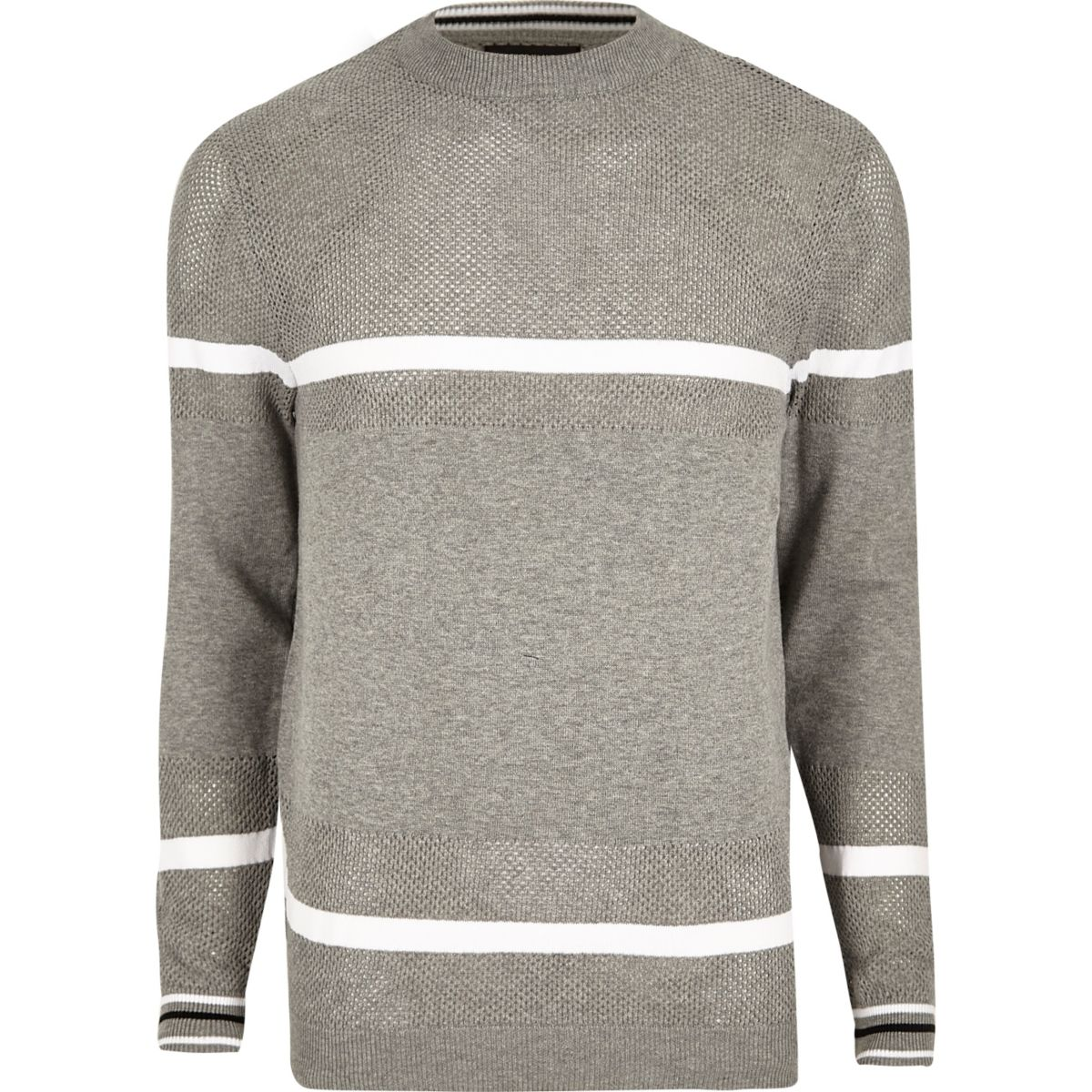 Grey knit mesh panel stripe sweater