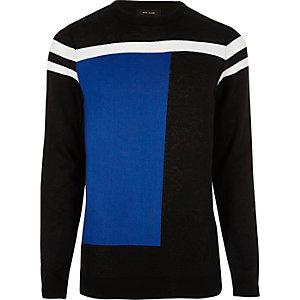 Felblauw slim-fit pullover met kleurvlakken