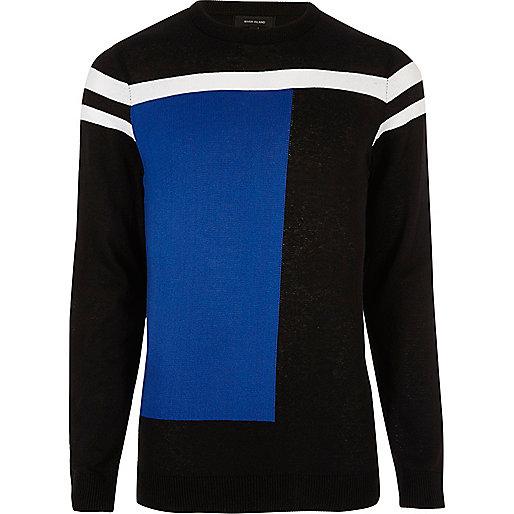 Bright blue block slim fit jumper