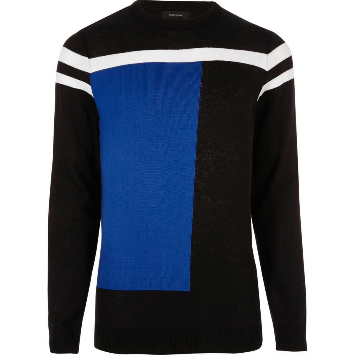 Bright blue block slim fit jumper