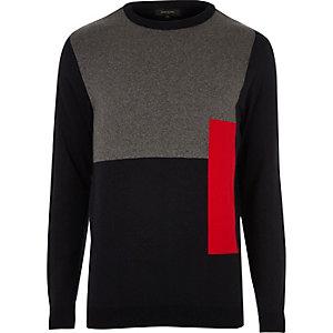 Slim-fit pullover met felrood kleurvlak