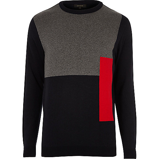 Bright red block slim fit jumper