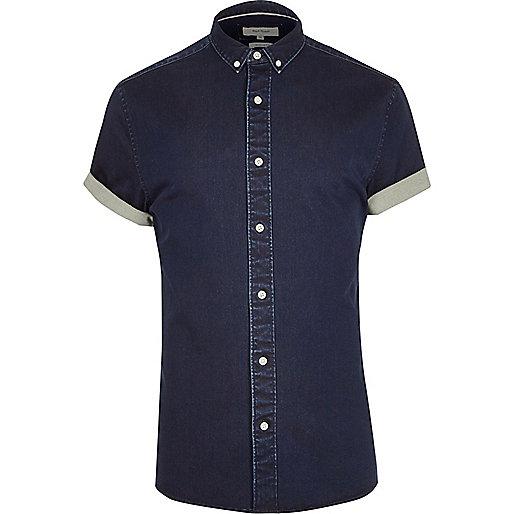 Blue short sleeve muscle fit denim shirt