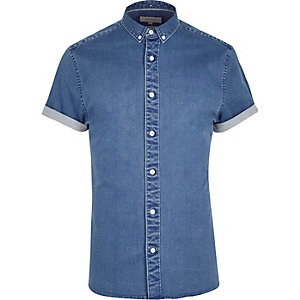 Mid blue short sleeve muscle fit denim shirt