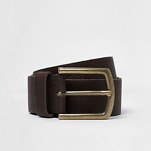 Brown leather Aztec textured belt