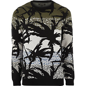 Green palm print sweater