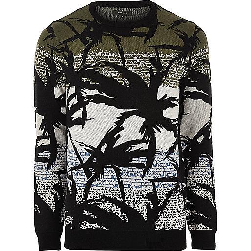 Green palm print jumper