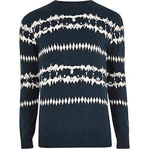 Dark blue aztec tie dye sweater